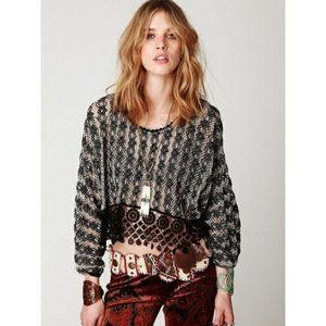 FREE PEOPLE sheer crochet crop blouse top XS S